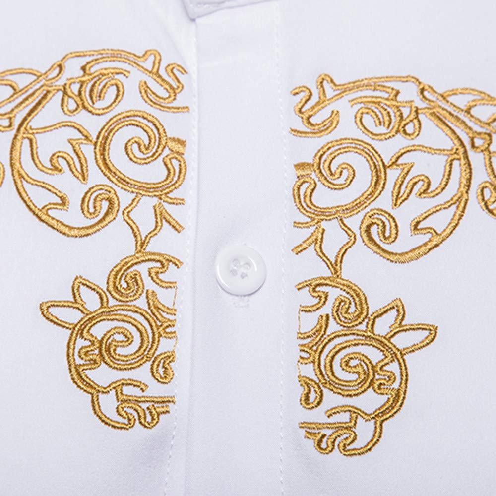 Willow S Mens Autumn Winter Luxury Button Down Shirt Gold Embroidery Long Sleeve Stand Collar Slim Comfy Top Blouse