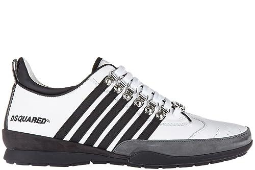 Dsquared2 Zapatos Zapatillas de Deporte Hombres en Piel Nuevo 251 ternegro Sport Blanco EU 44 S17SN131 065 M072: Amazon.es: Zapatos y complementos