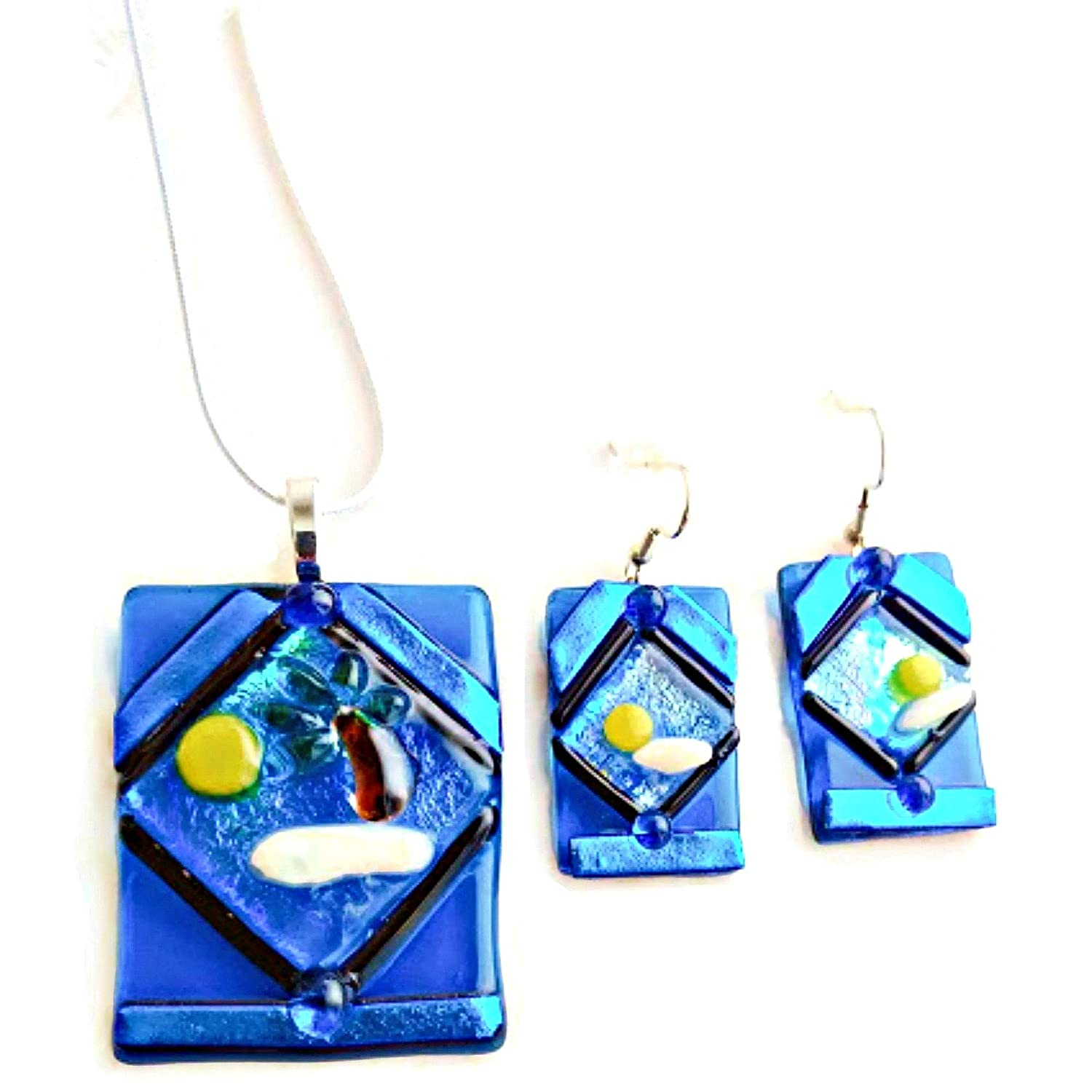 Fused Glass Necklace /& Earrings