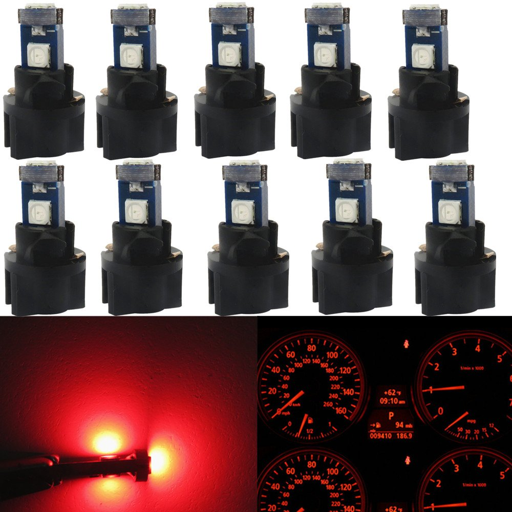 WLJH 10pcs Red T5 Instrument Panel Dash LED Light Bulb PC74 17 37 3030SMD 12 Dashboard Indicator Bulbs with Twist Socket