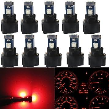 wljh 10 piezas rojo T5 Panel de instrumentos Dash luz LED Bombilla PC74 17 37 3030SMD
