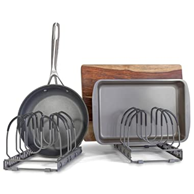 10+ Pans Expandable Pan and Pot Organizer Rack: 2 Racks or 1 Expandable Rack, Total 10 Adjustable Compartments, Kitchen Cabinet Countertop Bakeware Lid Holder