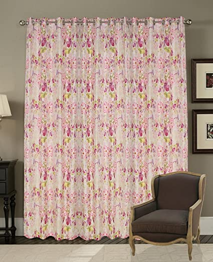 Buy Adorro Beautiful Pink Floral Printed Sheer Curtains for Home - 9 ...