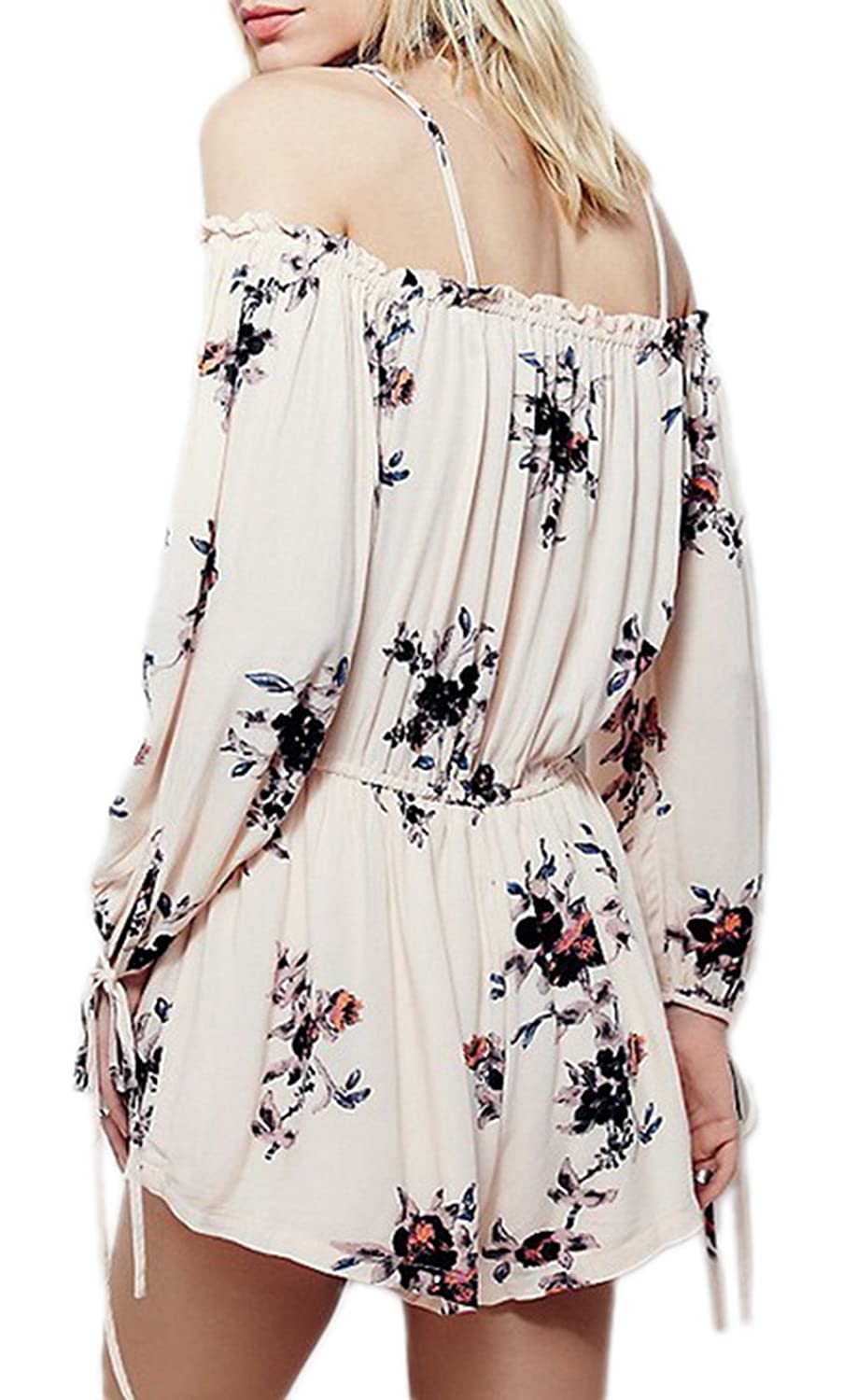 Bigood Occident Chic Floral Off-the-shoulder Mini Skirt Party Dress