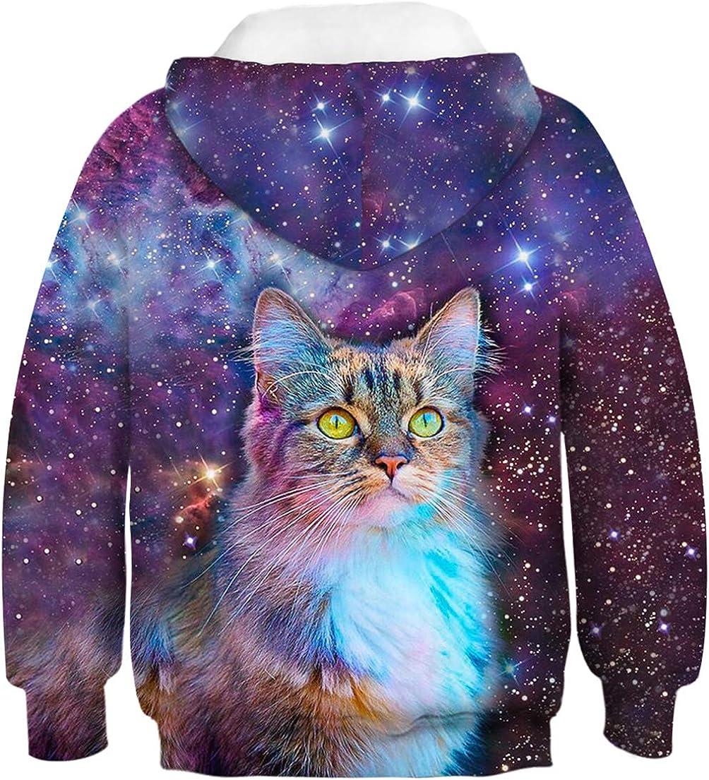 OLIPHEE Boys 3D Galaxy Pattern Hoodies Animal Printed Pullover Sweatshirt