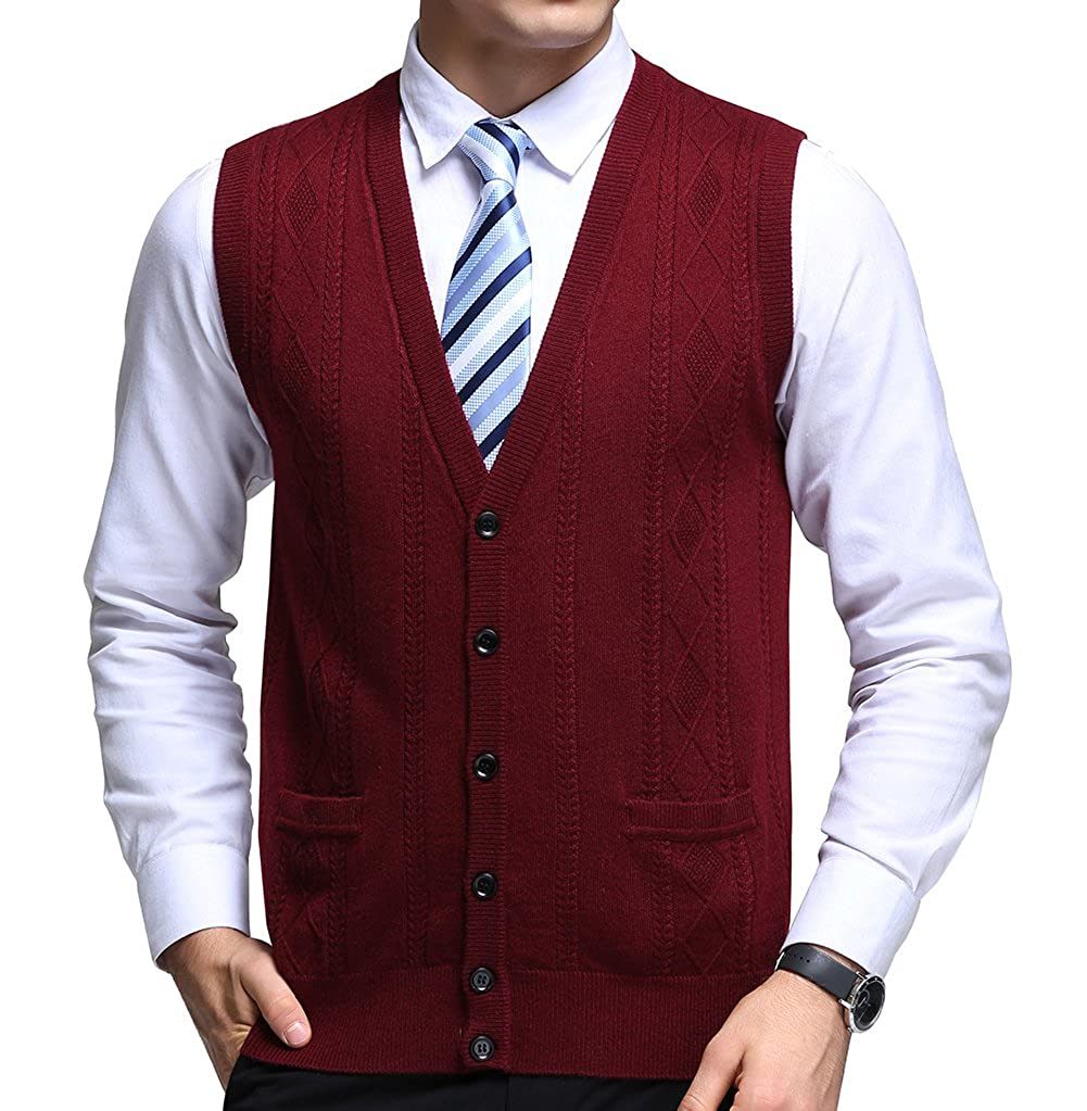 FULIER Mens Winter Wool V-Neck Gilet Sleeveless Vest Waistcoat Casual Gentleman Knitwear Cardigans Knitted Sweater Tank Tops Dress Buttons Design