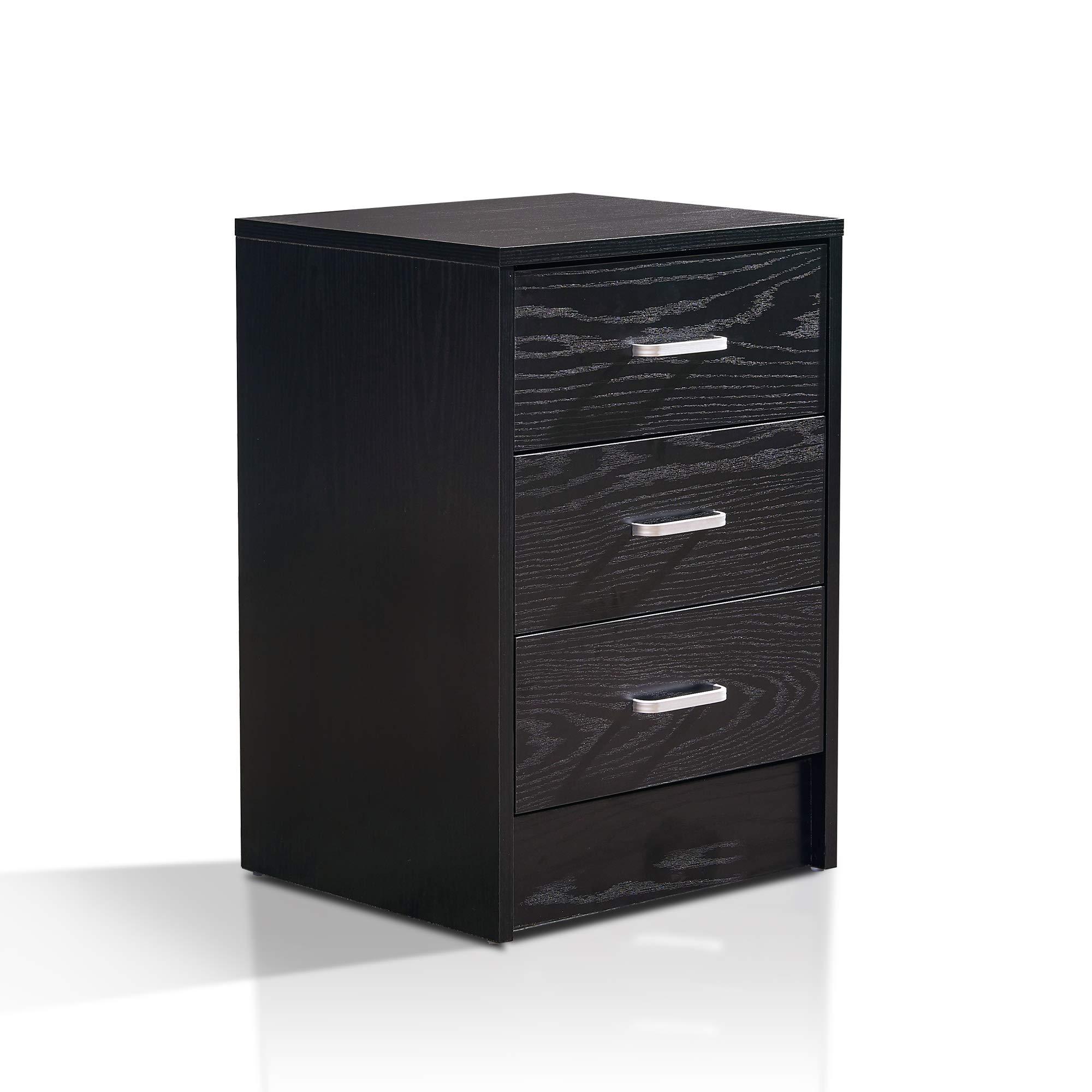 3 Drawer Filing Cabinet Vertical Filing Cabinets Lateral Filing Cabinet 9901 (Black)