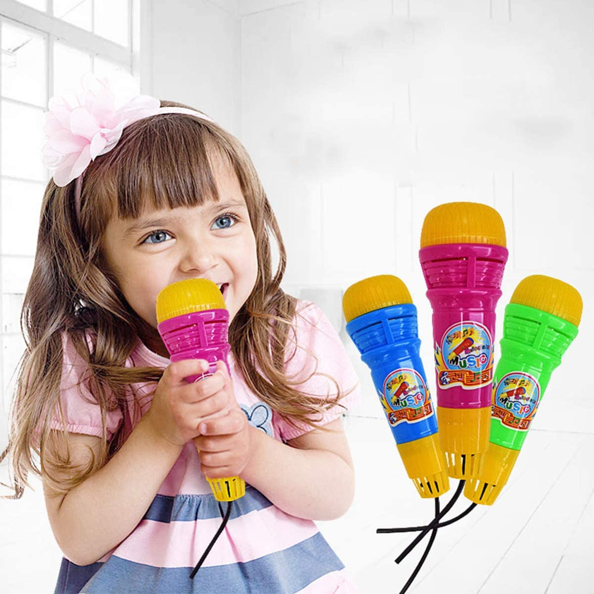 Mixed Color TOYANDONA 5pcs Echo Microphone Fashion Echo Microphone Toy Plastic Echo Microphone for Kids Party Gifts Educational Playthings