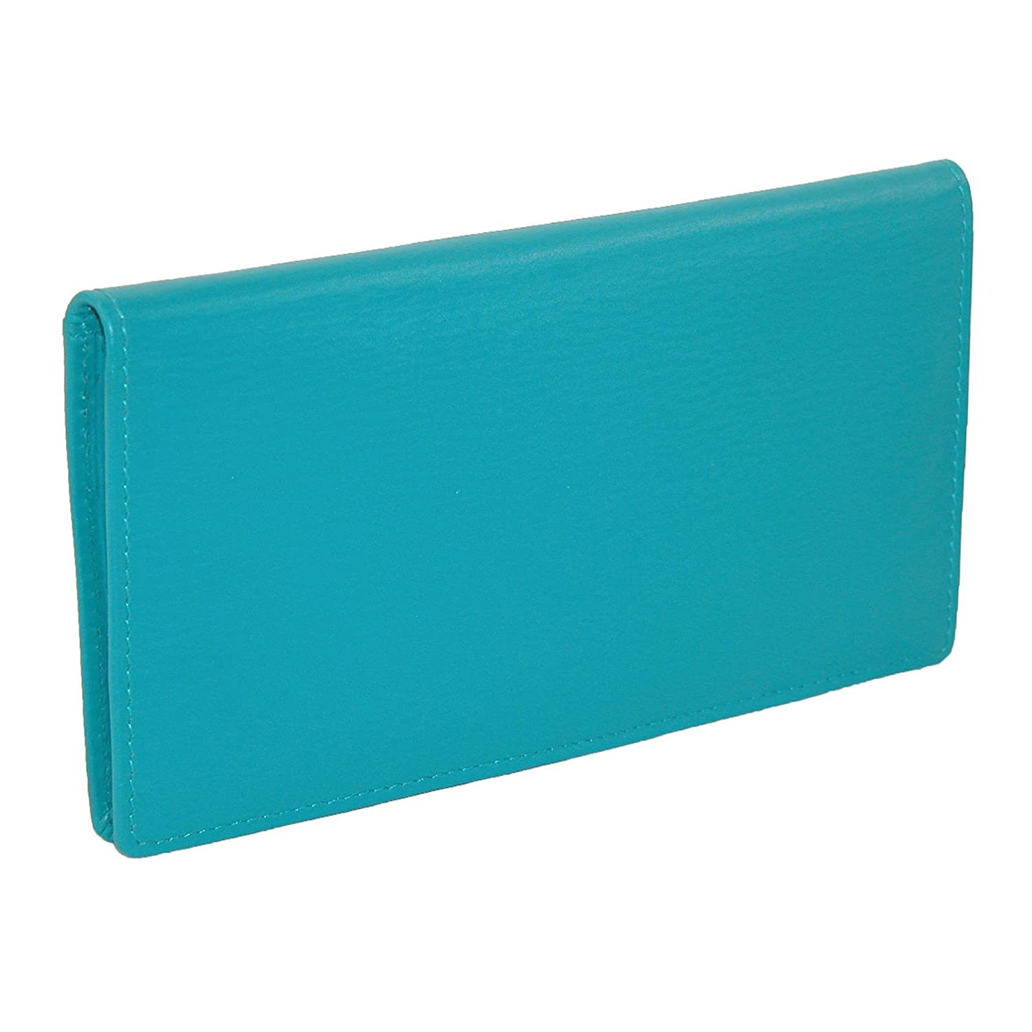 CTM® Women's Leather Basic Checkbook Cover in Fashion Colors, Aqua IL-7406-AQU