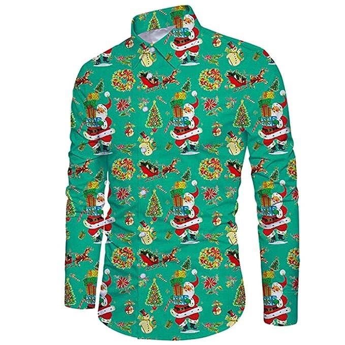 ac3667c1ab Internet-Camiseta de Manga Larga con Estampado de Santa para Hombre de  Explosion (Verde