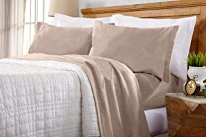 Home Fashion Designs Maya Collection Super Soft Extra Plush Fleece Sheet Set. Cozy, Warm, Durable, Smooth, Breathable Winter Sheets in Solid Colors (King, Taupe)