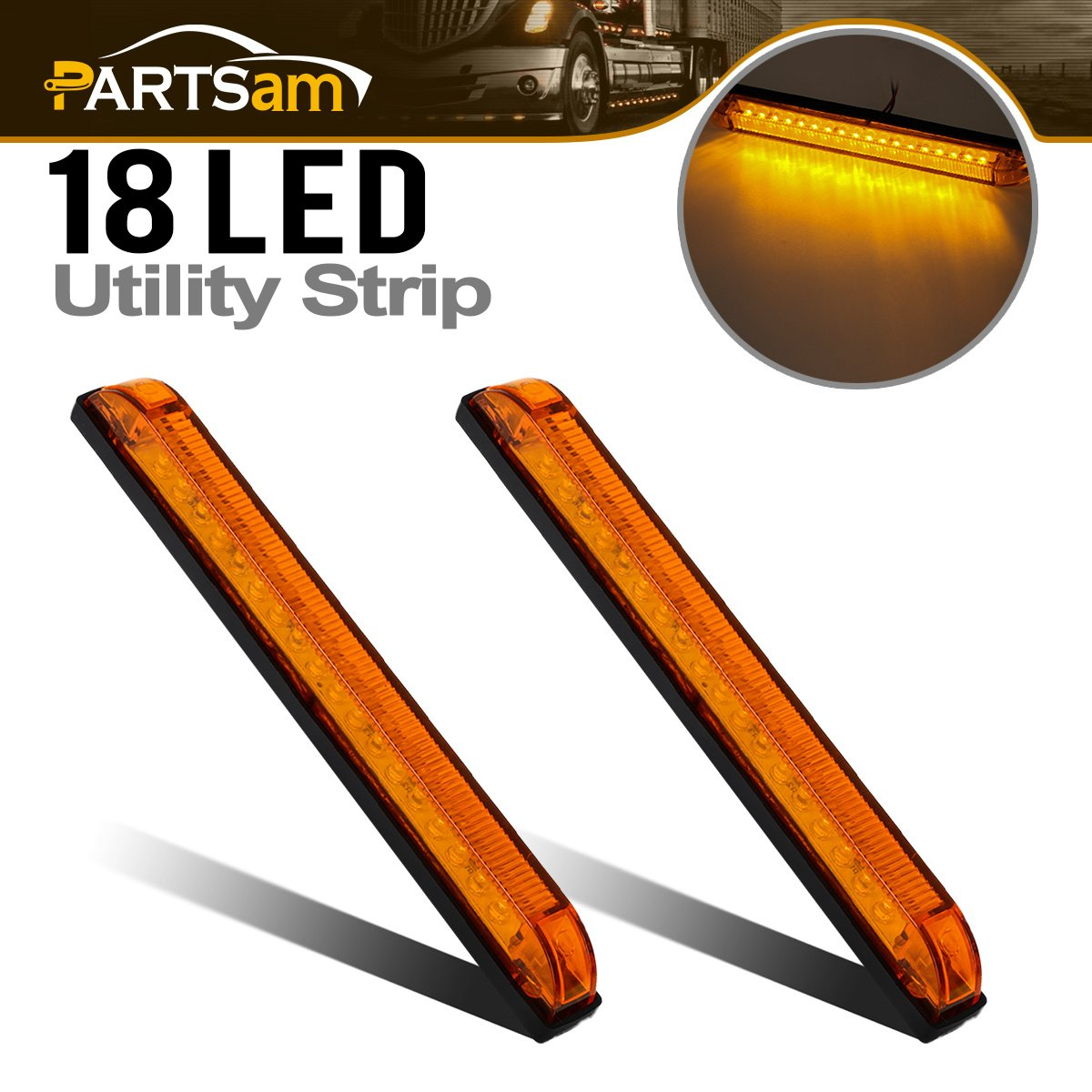 8' x 1' LED Utility Strip Light Amber Functional/Decoration Use Sealed 18LED 2pcs, 8 Inch Amber Boat Marine Led Strip Bar Turn Signal Parking Lights Partsam 4333018435