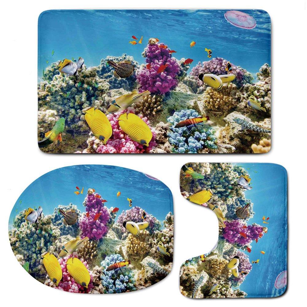 3 Piece Bath Mat Rug Set,Ocean,Bathroom Non-Slip Floor Mat,Intact-Sea-Life-Fish-School-and-Medusa-Jellyfish-at-Clear-Lagoon,Pedestal Rug + Lid Toilet Cover + Bath Mat,Lavender-Yellow-and-Aqua-Blue