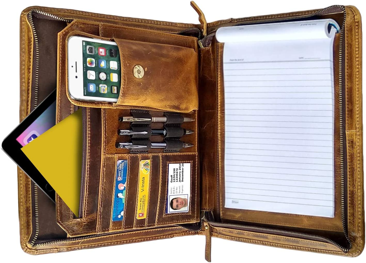 Business Leather Padfolio Leather Portfolio | Professional Organizer Gift for Men & Women | Durable Leather Padfolio | Easy to Carry with A Zippered Closure | Many Slots, Compartments & Holders