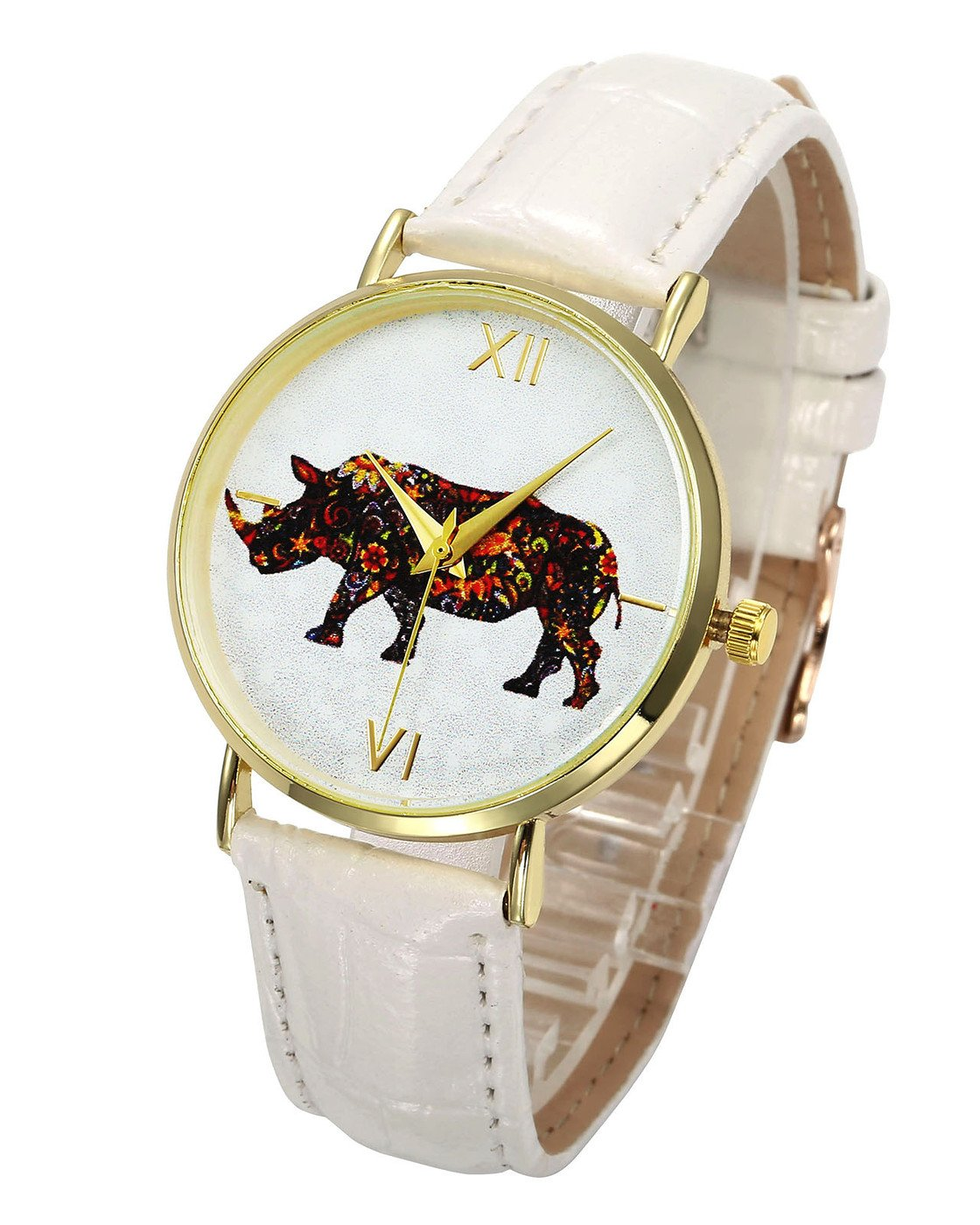 Top Plaza Cute Lovely Colorful Animal Pattern Dial PU Leather Band Dress Analog Quatz Wrist Watch Golden Case No Number Casual Watches for Womens Ladies(White-Rhinoceros)
