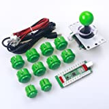 Easyget Zero Delay PC PS3 Android XBOX 360 For Windows 4 In 1 USB to Joystick Arcade Controller DIY Kit For PC / PS3 / Mobile Phone / TV Box / Raspberry Pi Arcade Joystick DIY - Green Kit
