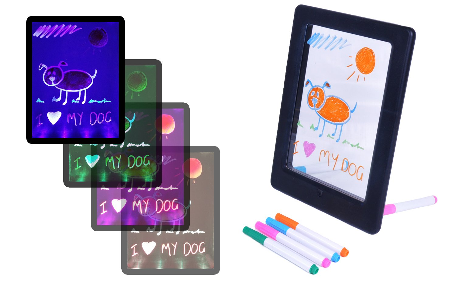 Color Splurge LED Drawing Board For Children - Erasable Ink - Changes The Color of Your Illuminated Writing & Artistic Drawings - Perfect for Kids with FREE Cartoon Stencil