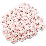 Topixdeals Silk Cream Roses Flower Head, Artificial Flowers Heads for Wedding Flowers Accessories Make Bridal Hair Clips Headbands Dress (50pcs Light Pink)