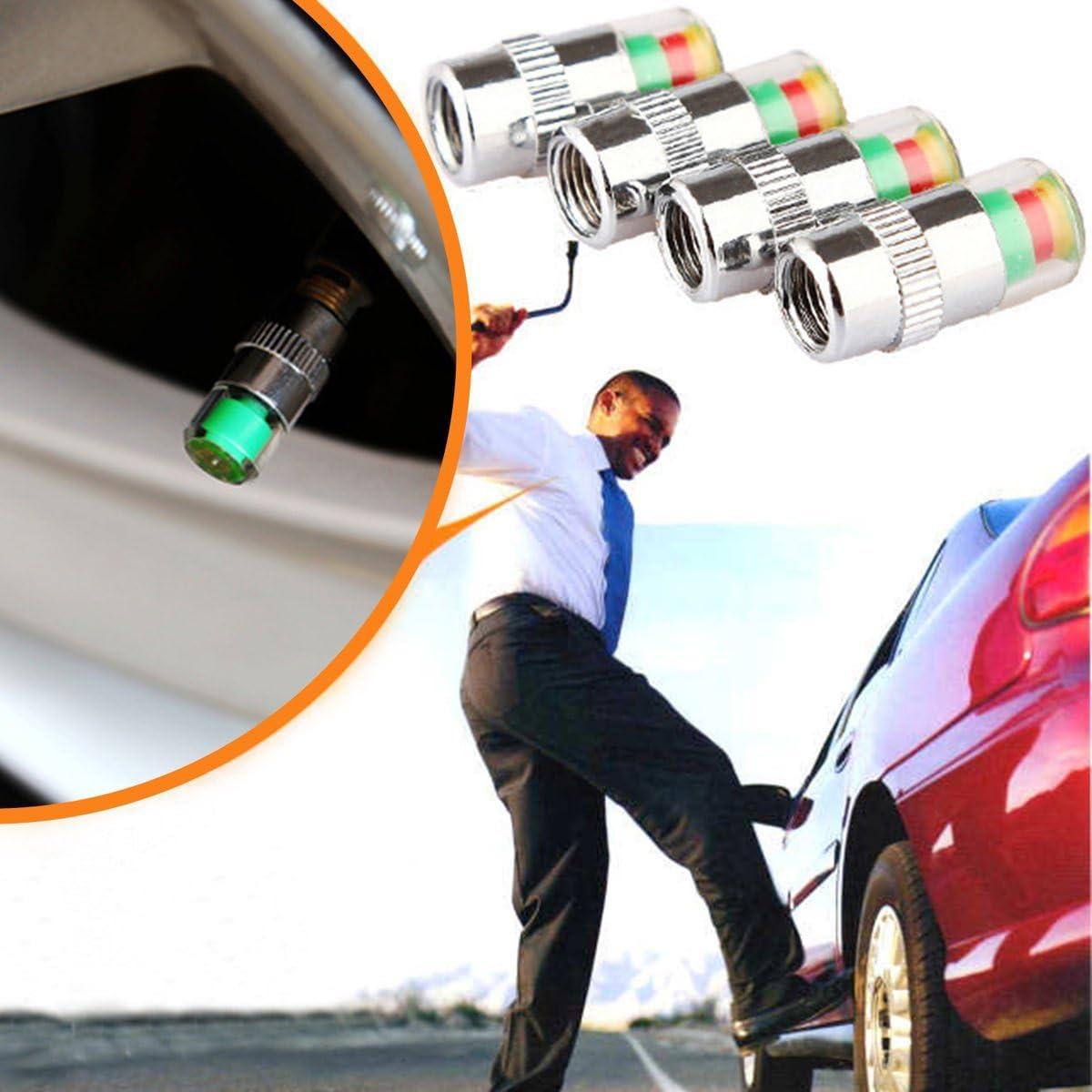 Cosye 4 unids//Set Tapas de v/ástago de v/álvula de Monitor de presi/ón de neum/áticos de Coche Alerta de Aire Tapa de v/álvula de neum/ático Sensor de presi/ón Monitor indicador de Tapa de luz