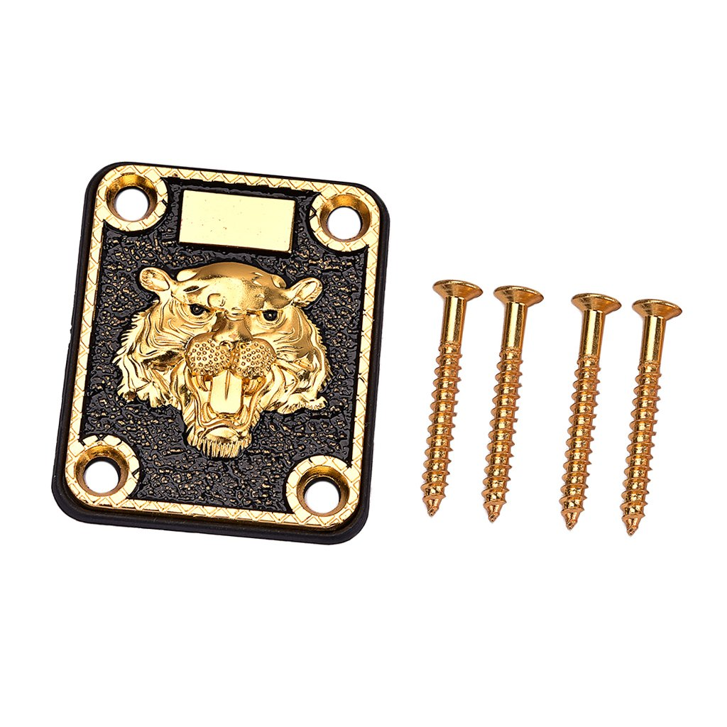 MagiDeal 1 Set Guitar Neck Plate with Screws Gasket for Electric Guitar Replacement Parts Golden non-brand