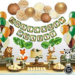 Sweet Baby Co. Woodland Animals Baby Shower Decorations Neutral Party Supplies With Welcome Baby Banner, Forest Animal Creatures Cut Outs, Balloons, Leaves, Paper Lanterns, Flower Pom Poms