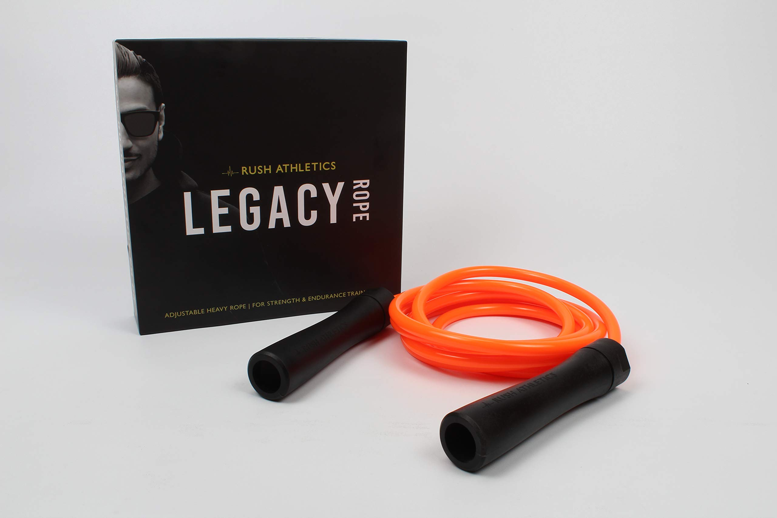 RUSH ATHLETICS Legacy Weighted Jump Rope Orange - Best for Weight Loss Fitness Training - Strength Power - Adjustable 11ft Heavy Jump Rope