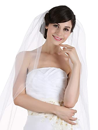 d0c90063f5e14 1T 1 Tier Pencil Edge Bridal Wedding Veil - Ivory Cathedral Length 108 quot