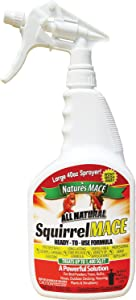 Nature's Mace Squirrel Repellent 40oz Spray/Covers 1,400 Sq Ft/Keep Squirrels & Chipmunks from Destroying Trees, planters, flowerbeds, and Bird feeders/Safe to use Around Children & Plants