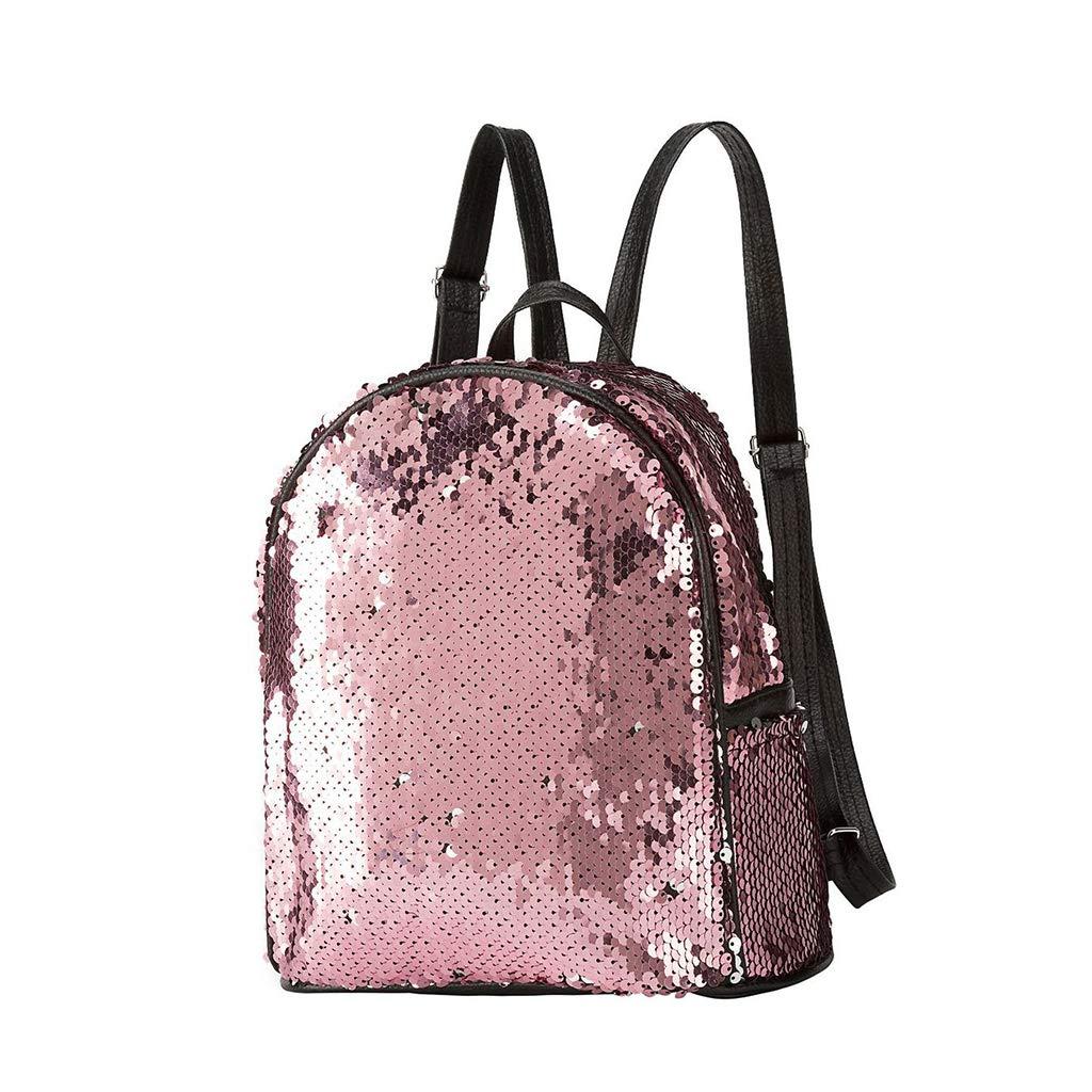 Sac /à dos tendance r/éversible /à paillettes en cuir synth/étique pour femme et fille rose