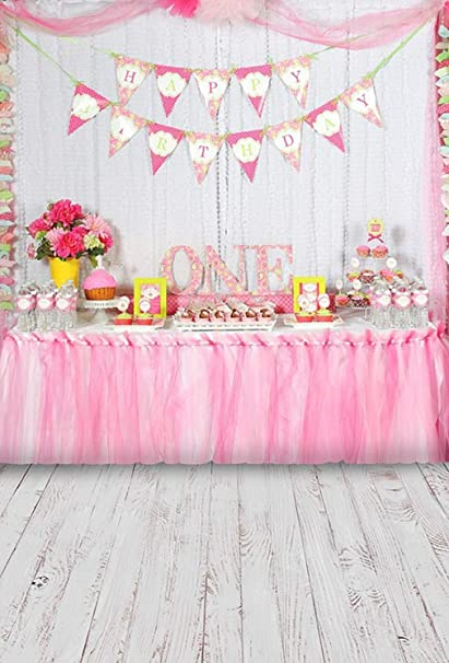 Amazon.com : First Birthday Backdrop for Photography Pink ...