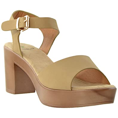 9a42f61350e Womens Platform Sandals Ankle Strap Open Toe Chunky Block Heel Shoes Taupe  SZ 5