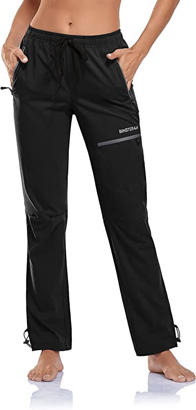 BINSTERAIN Womens Cargo Hiking Pants Zipper Pockets Lightweight Outdoor Elastic Waist Quick Dry Water Resistant UPF 50+