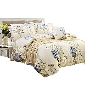 Gelb Bettbezug Set 100 Polyester Blume Bettwäsche Set 3 Stück 1