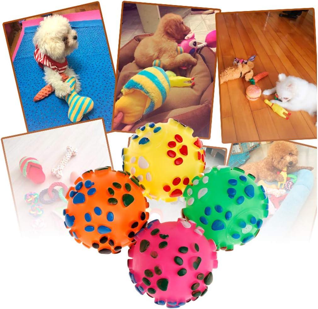 gatos juguete para mascotas pelota de goma suave para la huella de los pies mordedor 1 unidad Juguete para perros de YFairy mordisqueador masaje juego interactivo para perros chirrido