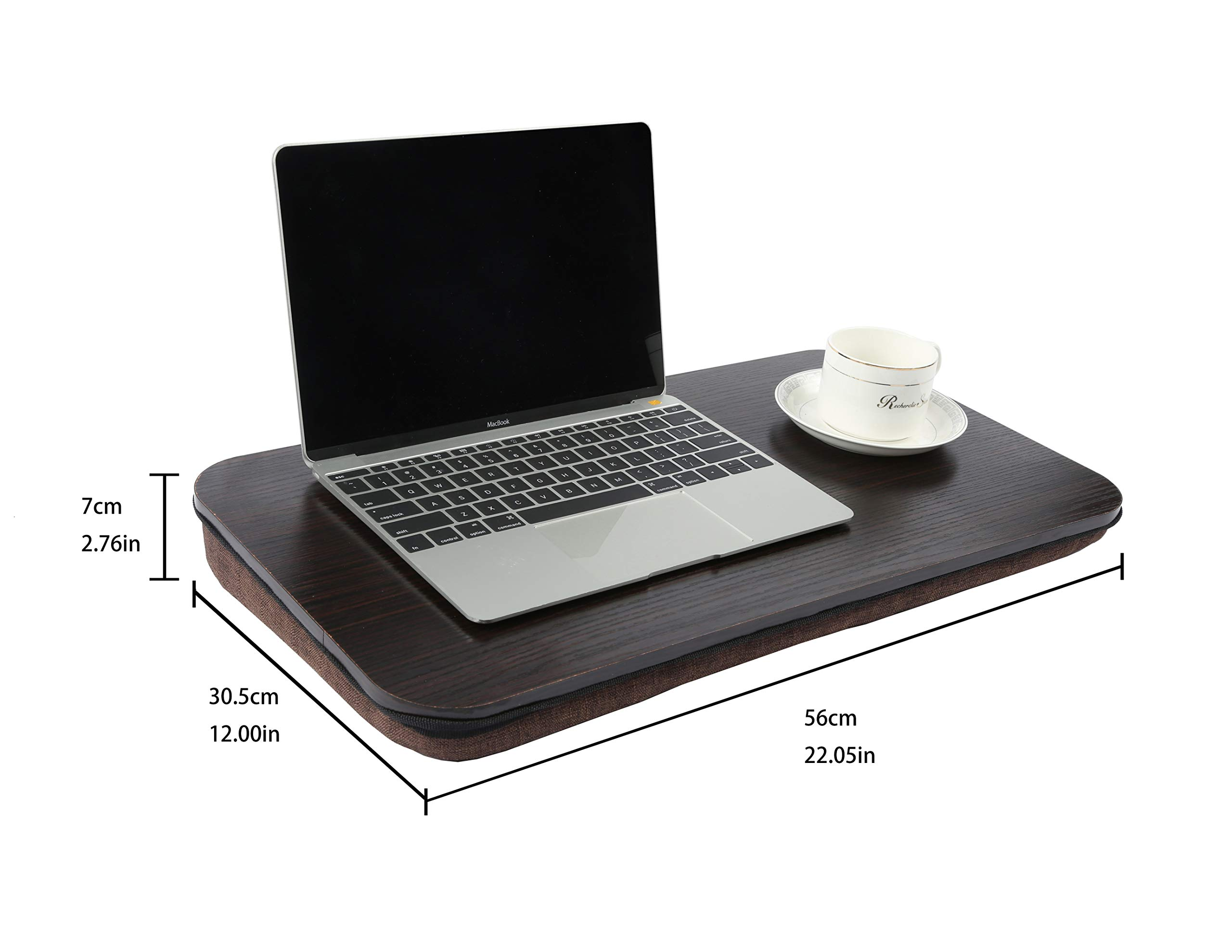 Homebi Lap Desk Knee Laptop Table Wood Book Stand Lightweight Food Serving Tray Perfect for Bed Couch Chair and Sofa with Foam-Cushioned Bottom and Built-in Handle in Black Oak,22.05''Wx12''Dx2.76''H by HOME BI (Image #5)