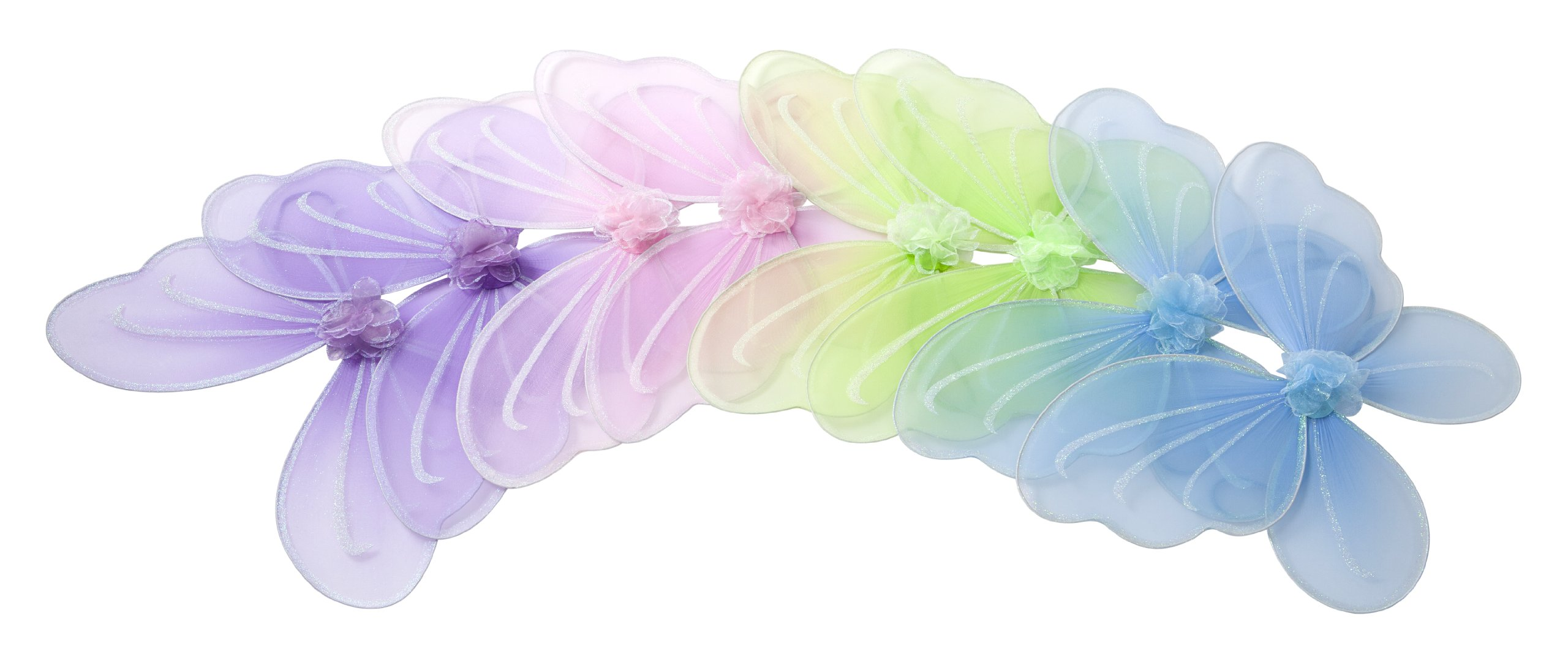 Girls Butterfly, Fairy, And Angel Wings For Kids. For Garden Parties, Birthday Favors, Halloween Costumes, And More. Set of 8. Multi Color