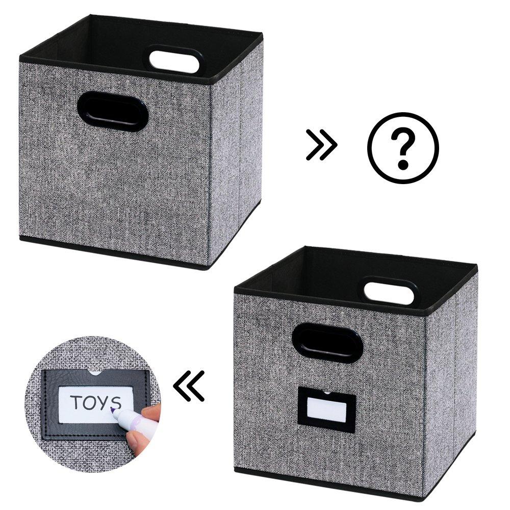 homyfort Caja de Almacenaje Set de 4 Cajas de Juguetes Caja de Tela para Almacenaje con Cuero maneja Negro Lino XABL04PLP 33 x 33 x 33 cm