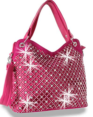 Zzfab Mirror Rhinestone Bling Purse Fuchsia  Handbags  Amazon.com fb2429d3d97fa