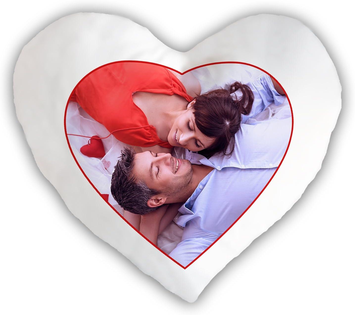 bedrucken mit eigenem Bild Geschenk Füllung Fotokissen Herzform incl
