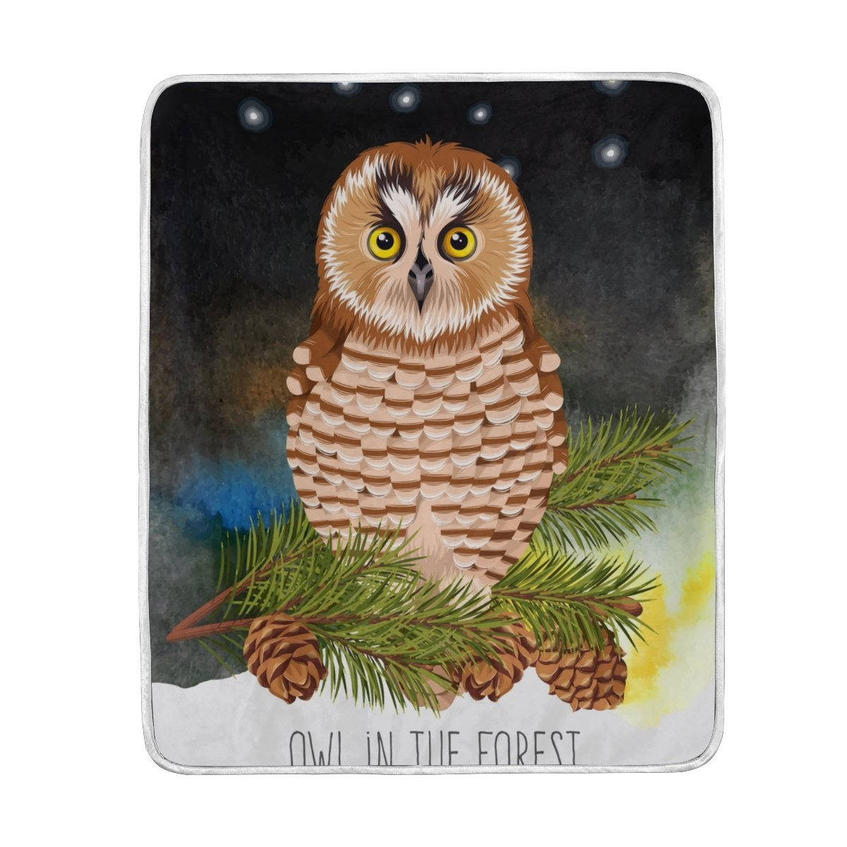 My Little Nest Warm Throw Blanket Forest Cute Owl Fir Branch Lightweight Microfiber Soft Blanket Everyday Use for Bed Couch Sofa 50'' x 60''