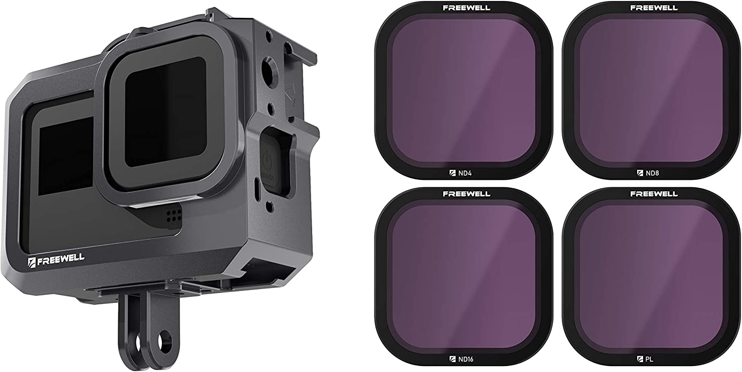 4K Series PL Filters//Cage de Protection M/étal Compatible avec Hero8 Noir 4Pack ND4 Freewell Standard Day ND8 ND16