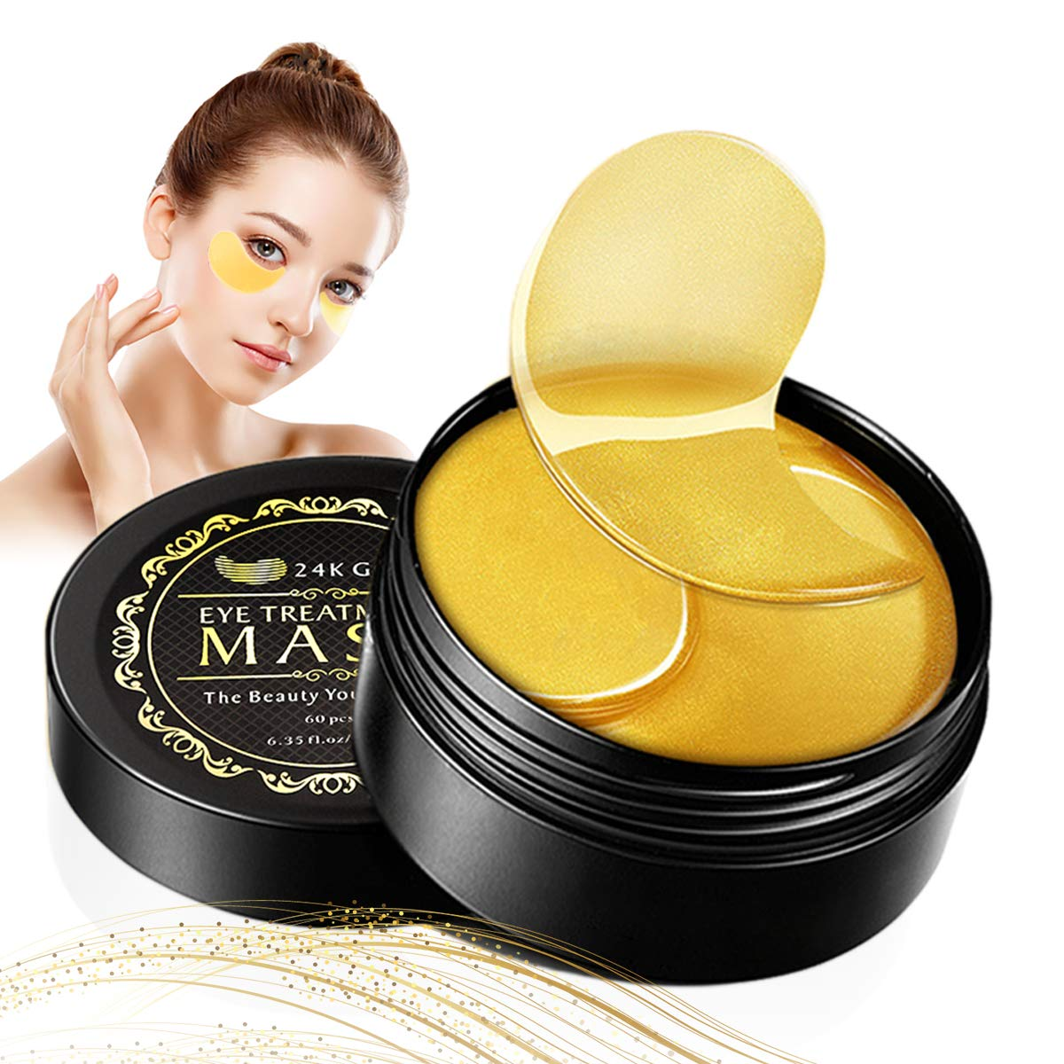 Under Eye Mask 24K Gold Eye Mask Reduces Wrinkles & Puffiness Lighten Dark Circles Moisturize Anti Aging Under Eye Patches 30 Pairs by SWLKG
