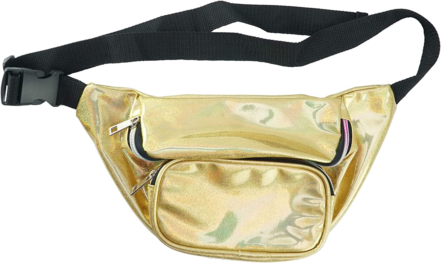 Home X Holographic Fanny Pack-Cute Waist Bags with Adjustable Belt for Rave, Festival- Gold Sparkle Fanny Pack, Running Belt, Waterproof Bum Bag with Pockets