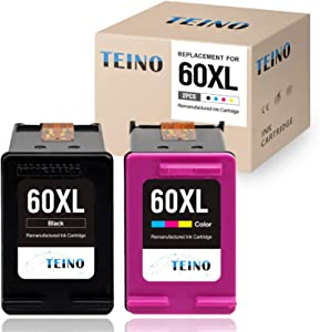 TEINO Remanufactured Ink Cartridge Replacement for HP 60 XL 60XL for PhotoSmart C4780 C4795 C4680 C4650 D110 D110a DeskJet F4480 F4280 F4580 D2530 D2545 D2680 Envy 100 111 (Black, Tri-Color, 2-Pack)