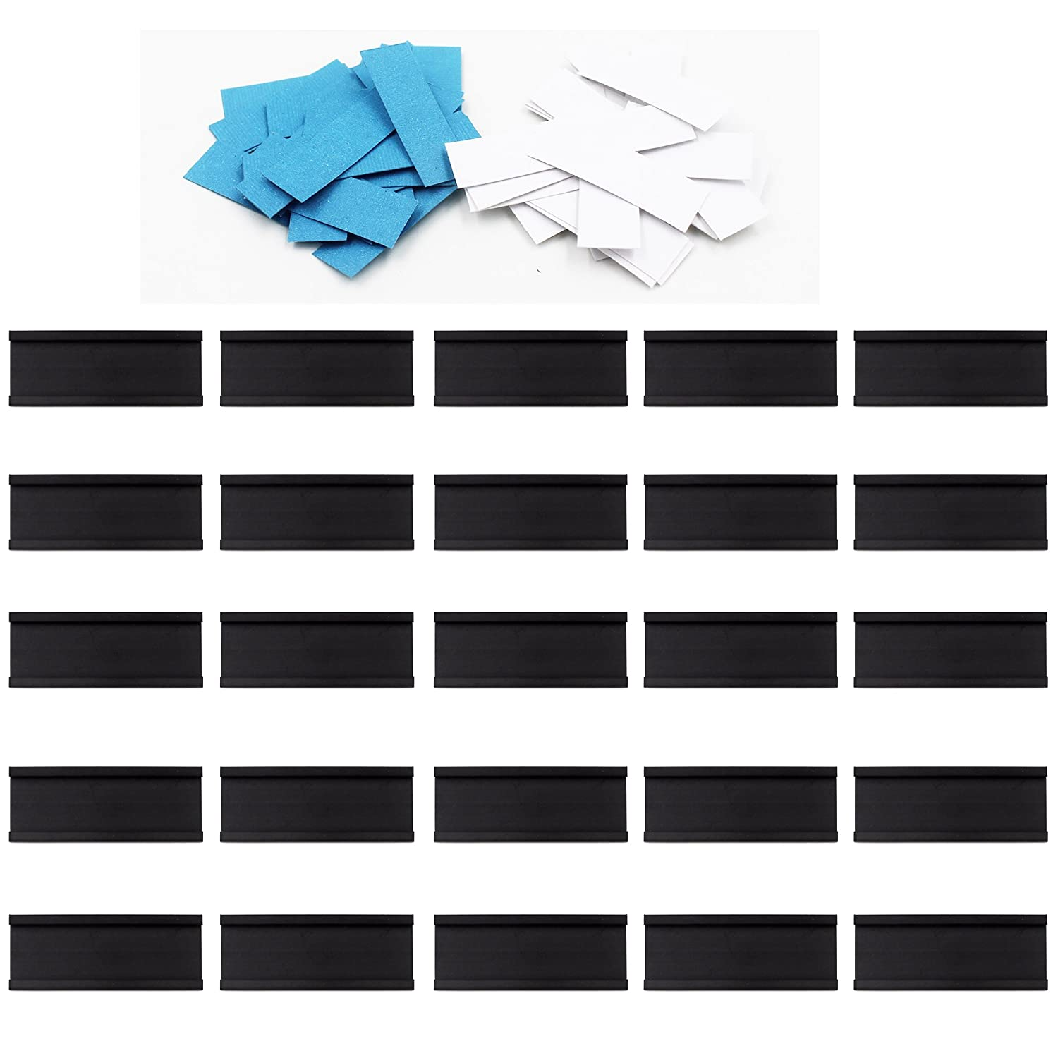 YYST 30 Magnetic Data Card Holders Lineup Tabs (0.5 x 1.5 Inches) - Magnetic Label C-Channel Shelf Labels - with 30 White Precut Cards and 30 Blue precut Cards Yi Ya Su