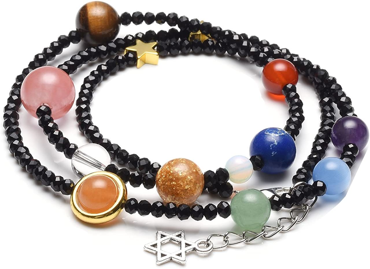 Pulsera de energía Jovivi con piedras preciosas, con los planetas del Sistema Solar, enroscable, cadena color negro