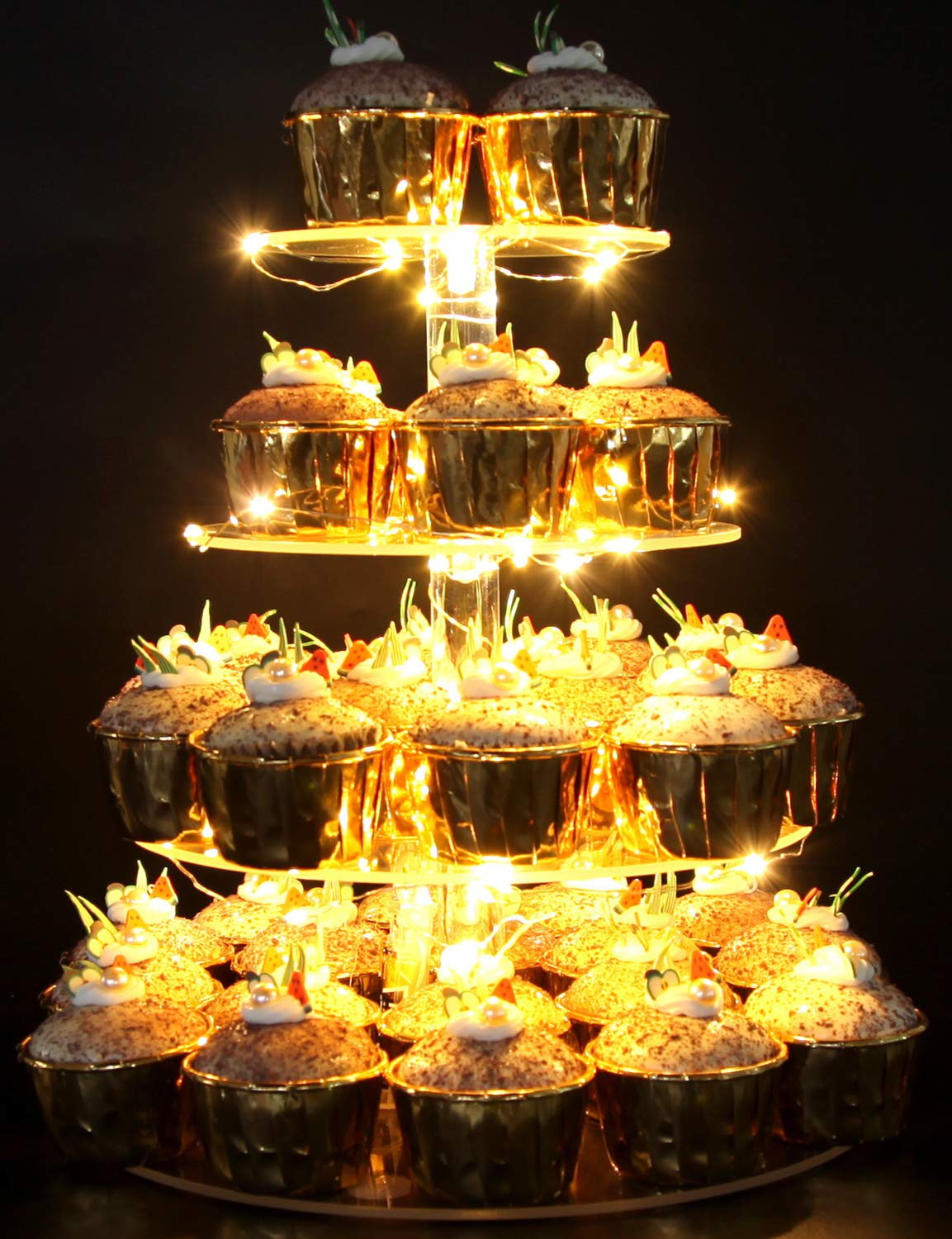 Vdomus Pastry Stand 4 Tier Acrylic Cupcake Display Stand with LED String Lights Dessert Tree Tower for Birthday/Wedding Party (Round)