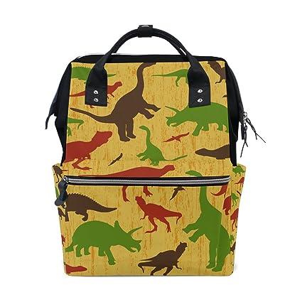 TIZORAX Mochila de pañales de dinosaurios vintage de gran capacidad para bebé bolsa multifunción pañales bolsas