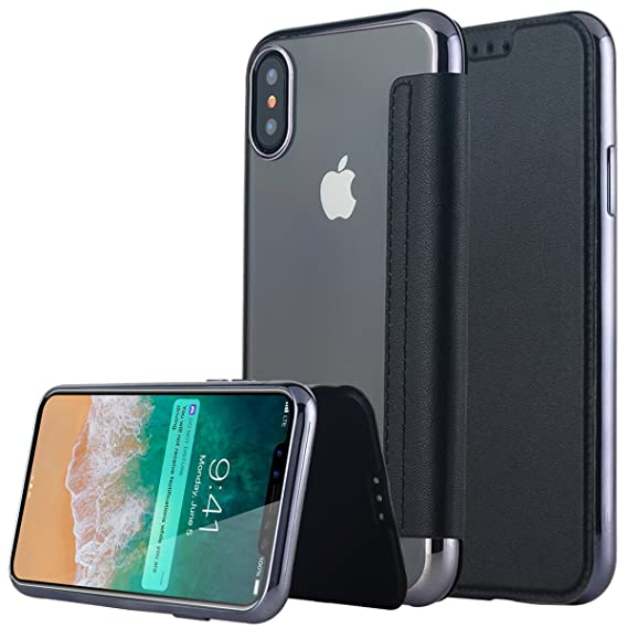 pretty nice f52d6 f86c3 Lontect Compatible iPhone Xs Case, Slim PU Leather Folio Flip Case with  Card Slot & Clear Soft TPU Back Cover for Apple iPhone Xs - Black