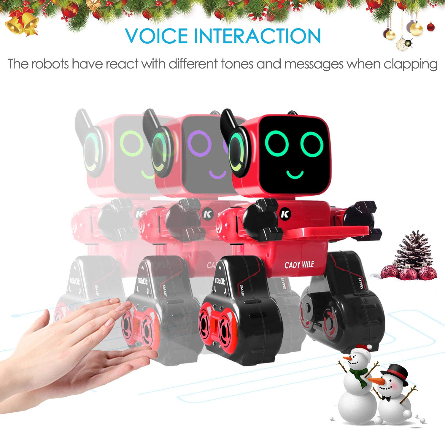 IHBUDS Programmable Remote Control Toy Robot for Kids,Touch & Sound Control, Speaks, Dance Moves, Plays Music. Built-in Coin Bank.Rechargeable RC Robot Kit for Boys, Girls All Ages-Red/Black by IHBUDS (Image #7)